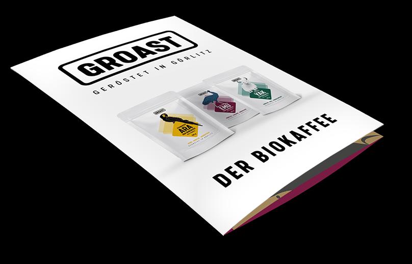 Flyer für Produkte von GROAST Biokaffee aus Görlitz