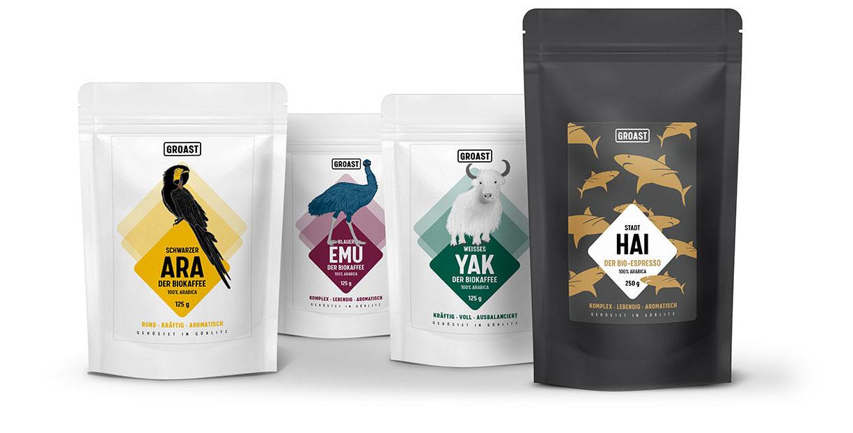Verpackungen für Biokaffe und Bioespresso von GROAST