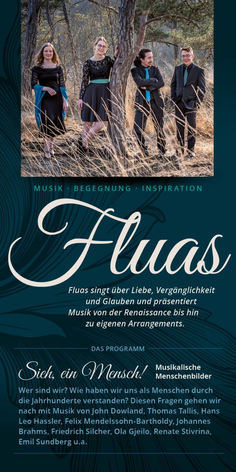 Das Vocalquartett FLUAS informiert per Flyer über Konzerte.