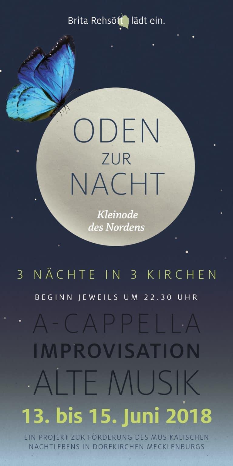 Ein Flyer Oden zur Nacht als Einladung und Programmhinweis